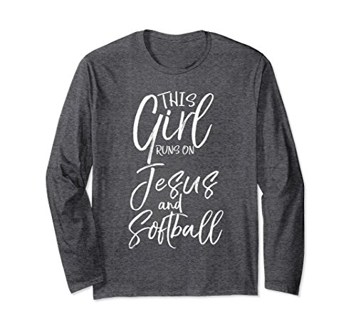 Unisex This Girl Runs on Jesus and Softball Long Sleeve Shirt Faith Medium Dark Heather (T-shirt Designs Softball)