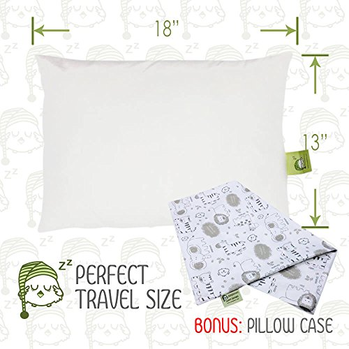 Large Product Image of Toddler Pillow with Pillowcase - 13X18 Soft Organic Cotton Baby Pillows for Sleeping - Washable and Hypoallergenic - Toddlers, Kids, Infant - Perfect for Travel, Toddler Cot, Bed Set (Kea Safari)