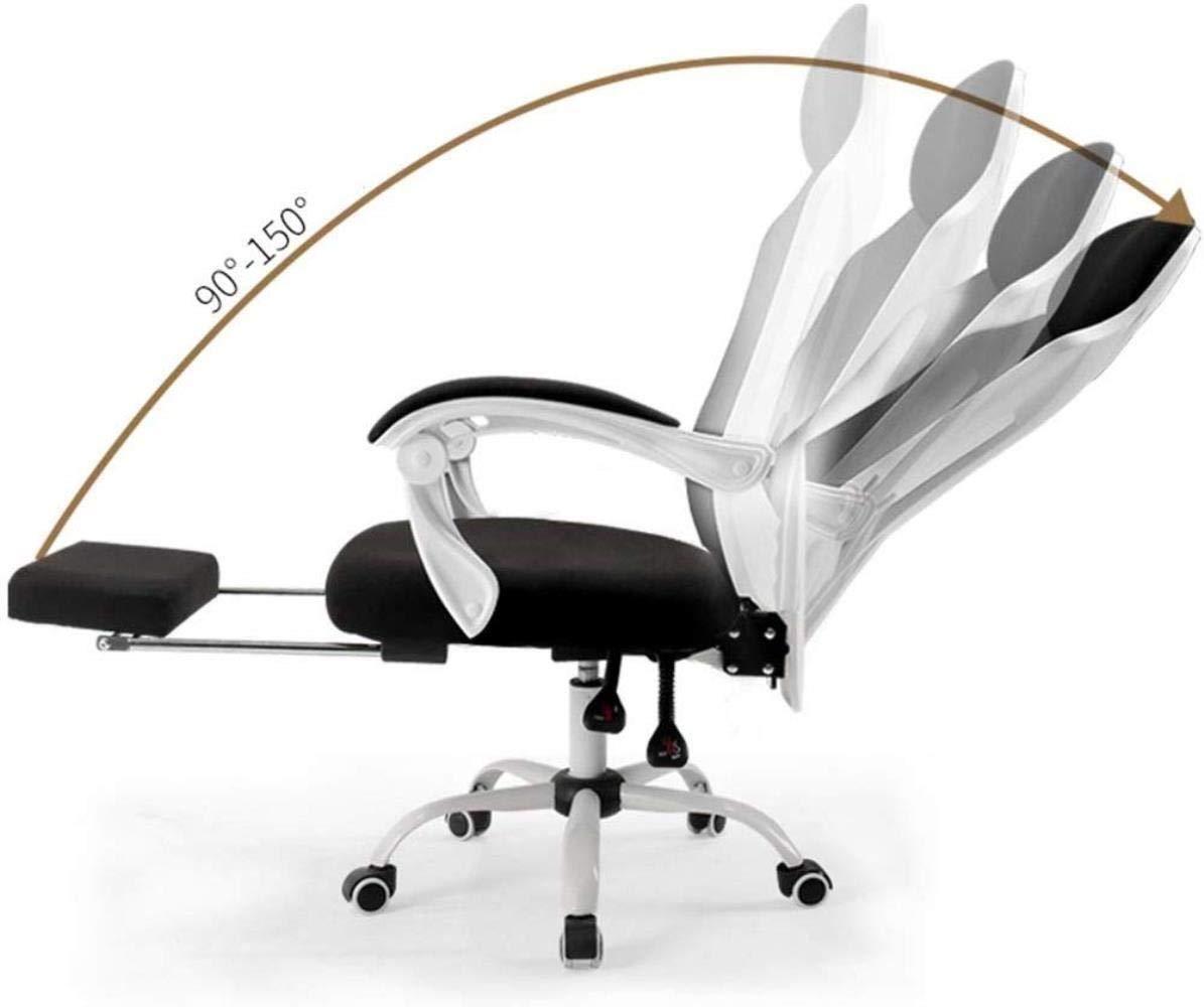 Barstolar Xiuyun kontorsstol datorstol skrivbordsstol med ländrygg stöd hög rygg nät skrivbordsstol 90°-150° lutningsmekanism med fotstöd Bärande vikt 130 kg (Färg: Vit) Svart