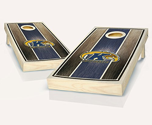 Kent State University Golden Flashes Stained STRIPED Custom Cornhole Boards Regulation Size Game Set Baggo Bean Bag Toss + 8 ACA Regulation Bags (Golden Light Kent)