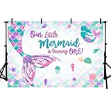 MEHOFOTO 7x5ft Mermaid One Birthday Photography Backdrop Under Sea Girl Princess 1st Birthday Party Decoration Mermaid Tail Purple Pink Teal Sparkle Glitter Photo Studio Background Banner