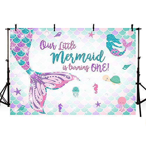 MEHOFOTO 7x5ft Mermaid One Birthday Photography Backdrop Under Sea Girl Princess 1st Birthday Party Decoration Mermaid Tail Purple Pink Teal Sparkle Glitter Photo Studio Background Banner]()