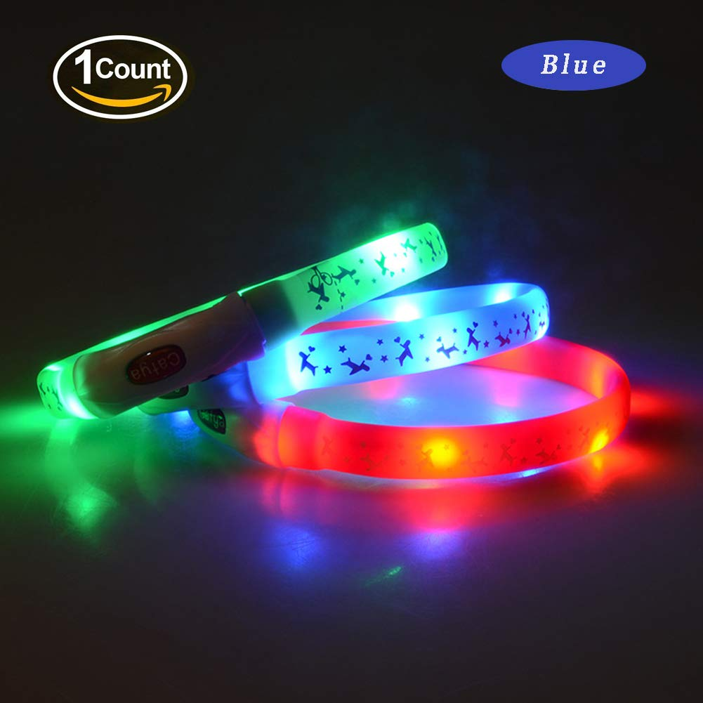 bluee Medium bluee Medium LED Dog Collar, Ultra Bright USB Rechargeable Glowing pet Dog Collar Cut to Fit Any Size for Your Pets for Small Medium Large Dogs