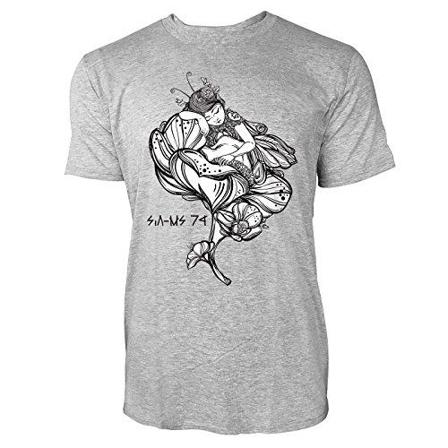 SINUS ART ® Schlafende Fee in einer Blume im Tattoo Stil Herren T-Shirts in hellgrau Fun Shirt mit tollen Aufdruck
