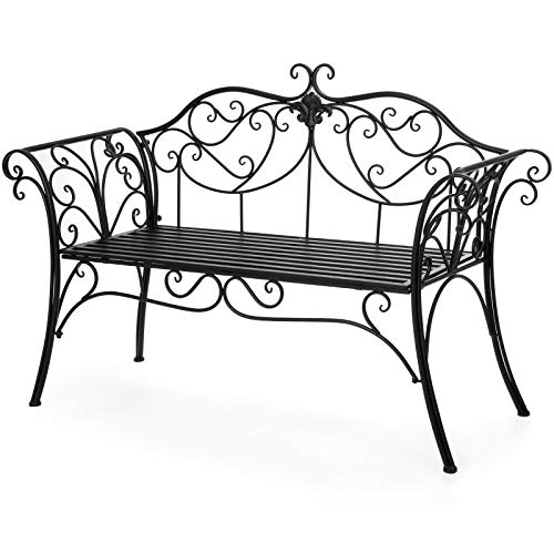 Iron Scroll Wrought Rocker - Wrought Iron Chair Bench Flora Design Scroll Detailing Under Seat 2 Person Armrests Elegance Romantic Patio Porch Workmanship Home Garden Decoration Love-seat Lawn 52.5
