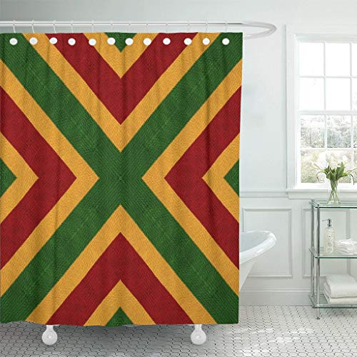 PAUSEBOLL Reggae Colors Flag Crochet Knitted Top View Collage Mirror Shower Curtain Bathroom with Hooks,Waterproof Polyester -