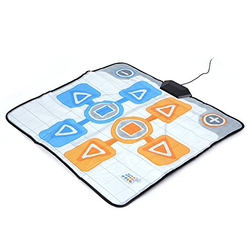 (Mugast Double Person Dance Mat, Non-Slip Dancing Pad with 5.6ft Cable for Wii Console Game Plug and Play)