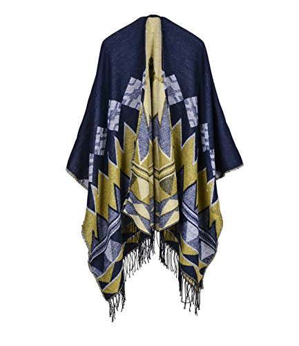 3 amp;yellow donna Medeshe Blue Poncho gq67w4