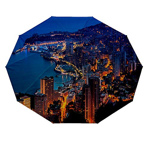 10 ribs multi-function automatic on/off - sun protection - rainproof - windproof umbrella, theme - Monaco Monte Carlo Aerial View -