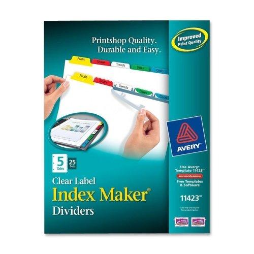 Maker Laser Punched 3 Tab (Wholesale CASE of 3 - Avery Index Maker Punched Clear Label Tab Dividers-Index Maker, Laser/Inkjet, 5 Tab, 25-Set, Multicolor)