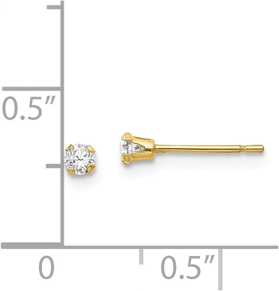 CZ Mia Diamonds 14k Yellow Gold Madi K 3mm Cubic-Zirconia Post Earrings