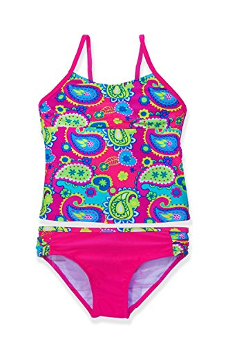 Jump'N Splash Girls Pink Paisley Halter Tankini w/UV 50+ Protection(7/8)