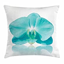 Aqua Throw Pillow Cushion Cover, Blue Phalaenopsis Orchid Floral Design Serene Natural Beauty in the World Botanical, Decorative Square Accent Pillow Case, 18 X 18 Inches, Aqua White