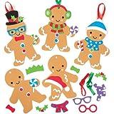 Kits décorations mousse en forme de Bonhommes pain d'épices assortis que les enfants pourront fabriquer et suspendre sur le sapin de Noël (Lot de 6)