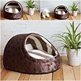 1 Pcs Sumptuous Popular Pet Half Covered Bed Size M Warm Sofa Cat Pad Rug Soft Fabric Color Type Coffee