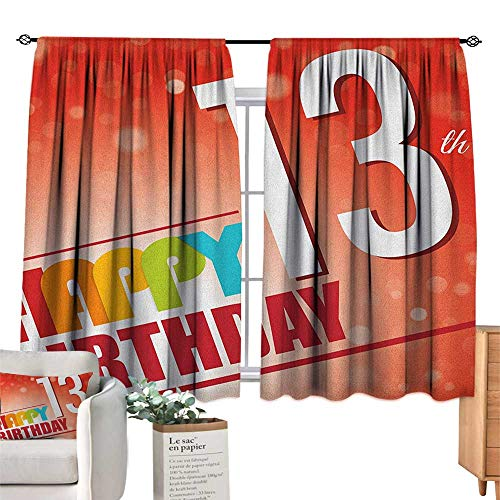 13th Birthday,Bedroom Drapes Retro Style Teenage Party Invitation Graphic Design with Bokeh Effect Rays Room Darkening Curtains for Boys Bedroom W55 x L45 ()