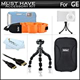 """Must Have Accessories Kit For GE Active DV1-GG, DV1-AB, DV1-CO, DV1-LG, DV1-LG, DVX Waterproof/Shockproof 1080P Pocket Video Camera Includes Mini HDMI Cable + Case + FLOAT STRAP + 7"""" Tripod + More"""