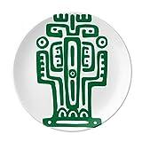 Mexico Totems Ancient Civilization Cactus Dessert Plate Decorative Porcelain 8 inch Dinner Home