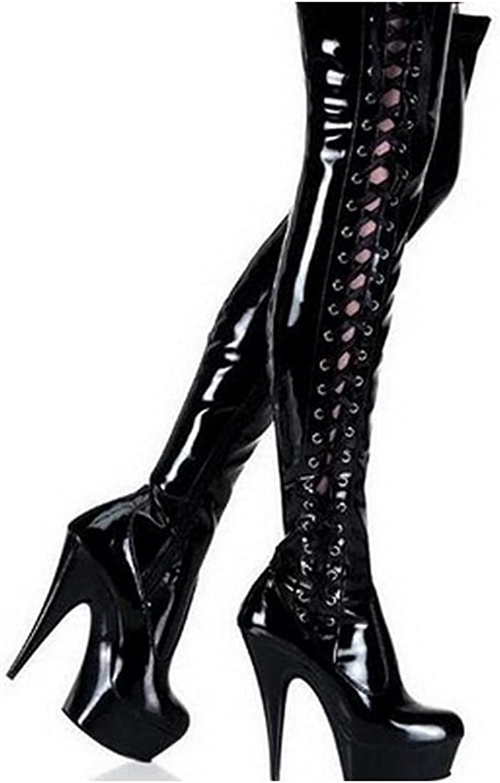 Black Patent Thigh high Platform Boots