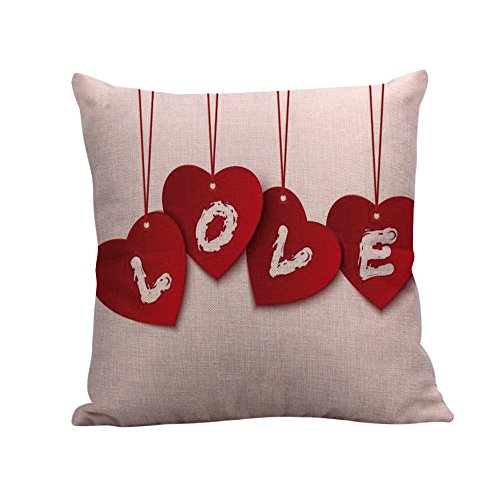 Weiliru Solid Color Valentine's Cotton Linen Decorative Linen Throw Pillow Case Cushion Cover Pillowcase for Couch, Sofa,Bed,18 x 18 Inches