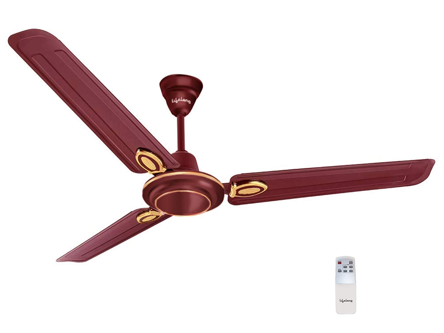 Lifelong Glide 1200 mm Semi-Décor Ceiling fan with Remote (Brown) | High Speed | 2 Year Warranty