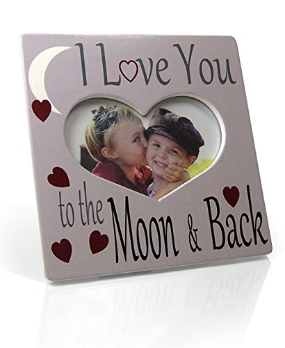 BANBERRY DESIGNS I Love You Picture Frame - Heart Shaped Frame with I Love You to The Moon and Back Saying - Gray and White Photo Frame - Desktop Plaque -