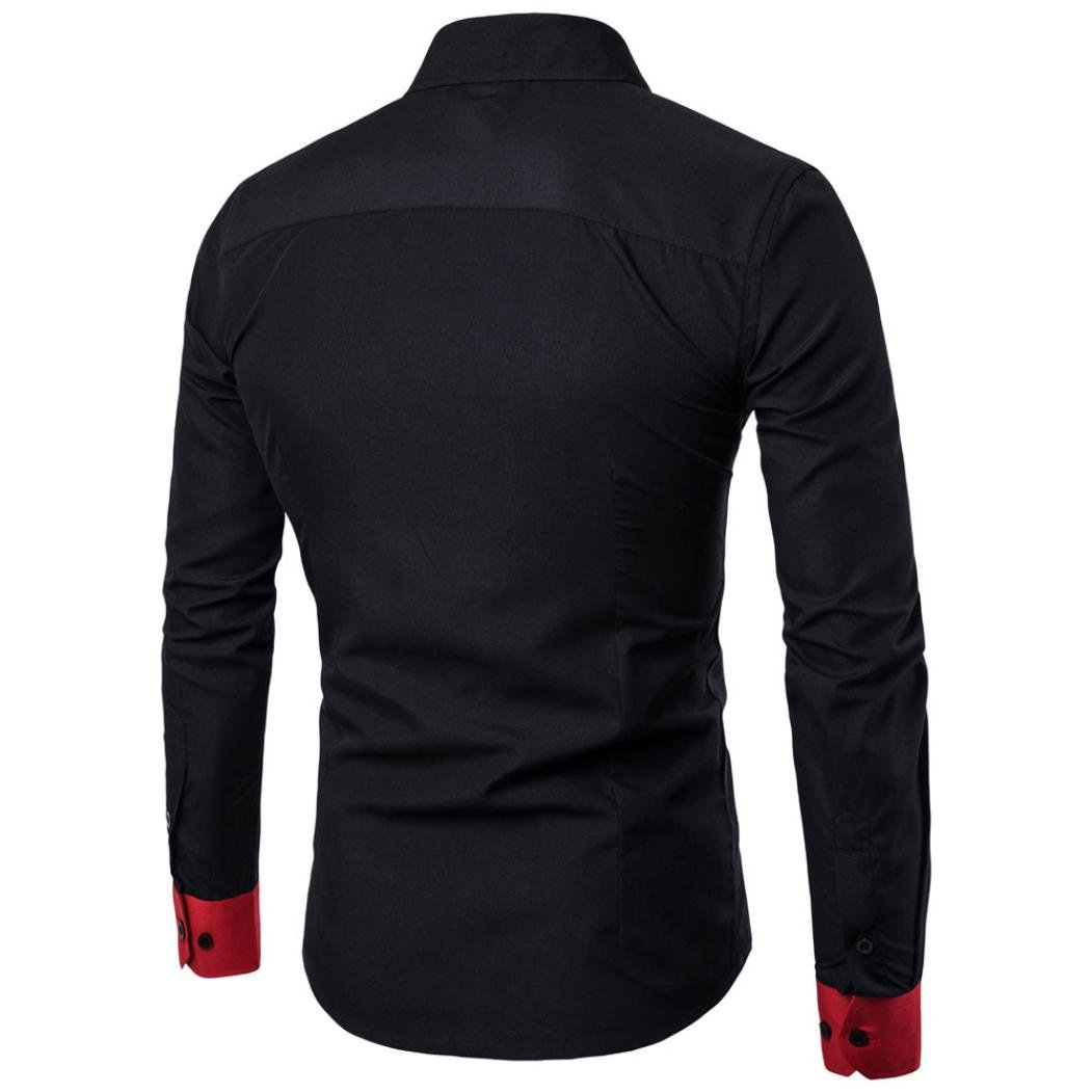 187e00b4a37 Amazon.com  Sumen Men s Button Down Dress Shirts Patchwork Color Block  Casual Long Sleeve Blouse  Clothing