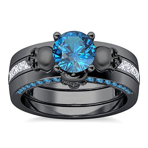 Silvercz Jewels 14K Black Gold PL Invisible Set Aquamarine Sim Diamonds Skull Interchangable Ring Set (Diamond Skull Engagement Ring)