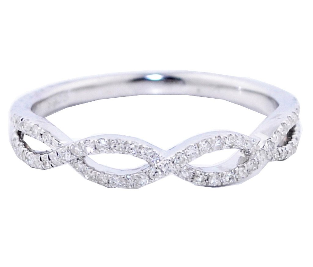 Infinity Wedding Band Anniversary Ring Twisted 1/8ctw Diamonds in Silver(i2/i3, I/j)