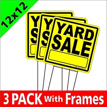 Amazon Com Yard Sale Signs Coroplast Yard Signs With Stakes 12x12