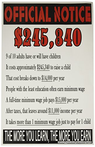 Youth Change Workshops Motivational Classroom Poster Shows Cost to Raise a Child on Minimum Wage (Poster #517)