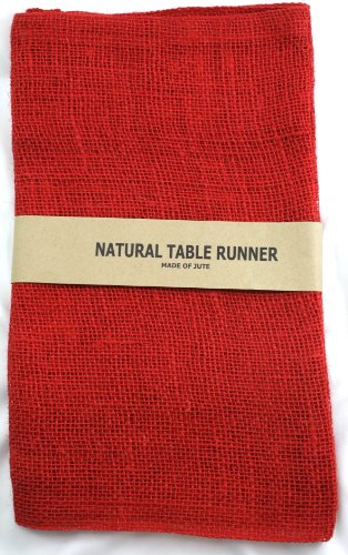 Kel-Toy Burlap Jute Table Runner/Fold and Sew Edge, 14 by 72-Inch, Red ()