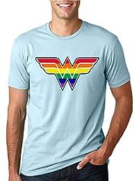 Women's Wonder Rainbow Design   Mens LGBT Pride Tee Graphic T-Shirt