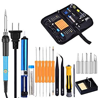 Alotm 60W 110V Electric Soldering Iron Kit in PU Carry Bag with 5pcs Tips, Adjustable Temperature Welding Iron, Desoldering Pump, 2pcs Tweezers, Screwdriver, Tin Wire Tube, Stand and 6pcs Aid Tools