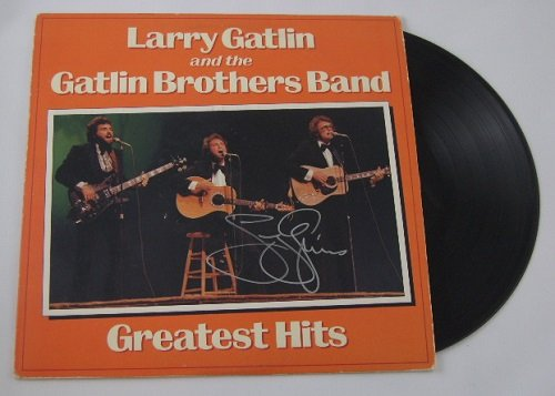 Larry Gatlin Gatlin Brothers Band Greatest Hits Country Music Signed Autographed Lp Record Album with Vinyl Loa from Star Gallery