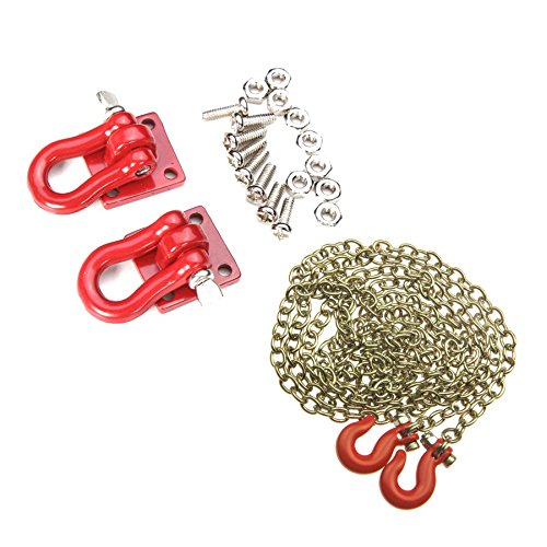 Threaded Shackle - 1 Set 1/10 Scale Red Trailer Shackles Mounting Bracket with 890mm Chain Hook for RC Crawler Car Accessory