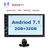 Android 7.1 universal double din Car Stereo 32GB+ 2GB Radio with Bluetooth GPS Navigation Support Fastboot Wifi MirrorLink AUX USB SD Backup Camera 7 inch Touch Screen