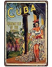 Cuba Póster De Pared Metal Retro Placa Cartel Cartel De Chapa Vintage Placas Decorativas Poster por Café Bar Garaje Salón Dormitorio