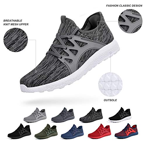 ZOCAVIA Men's Athletic Shoes Lightweight Sneaker Walking Tennis Slip On Shoes Wide Fashion Sneakers Running Work Shoes, Grey White, 11 M US