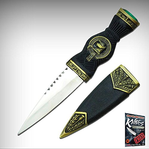 FIXED-BLADE DAGGER Elite Knife 7.32'' Black Bronze Scottish Sgian-Dubh Dirk w/ Emerald + free eBook by ProTactical'US