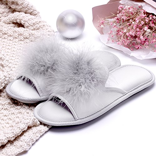 Women Open Toe Slippers | Pom Pom Fur Slippers | House Slide Clog| Slip on Indoor Outdoor Shoes | Memory Foam Anti-Slip Sole (8-9, Silver Pom) by Caramella Bubble (Image #6)