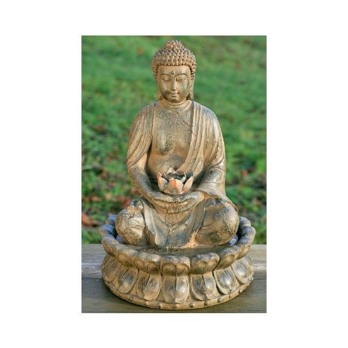 Homestyles Buddha Fountain Sculpture With Water & Light Feng Shui