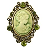 Green Cameo Brooch Pin Charm Rhinestone Fashion Jewelry Necklace Pendant Compatible
