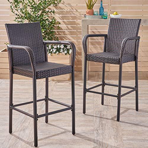 Great Deal Furniture Stewart Outdoor Bar Stool, Set of 2, Brown