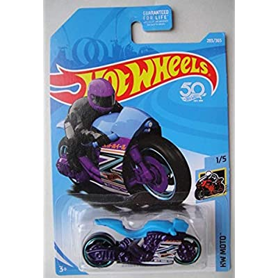 Hot Wheels Moto 1/5, Blue/Purple Street Stealth 283/365 50TH Anniversary Card: Toys & Games