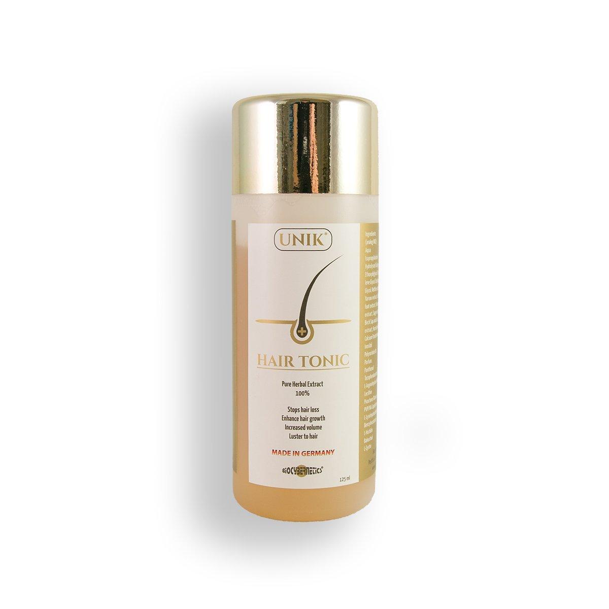 Unik - Hair-Tonic La más alta calidad 100% natural / hierbas 125ml (Hecho en Alemania) Contra la caída del cabello, la caspa y el cabello quebradizo.