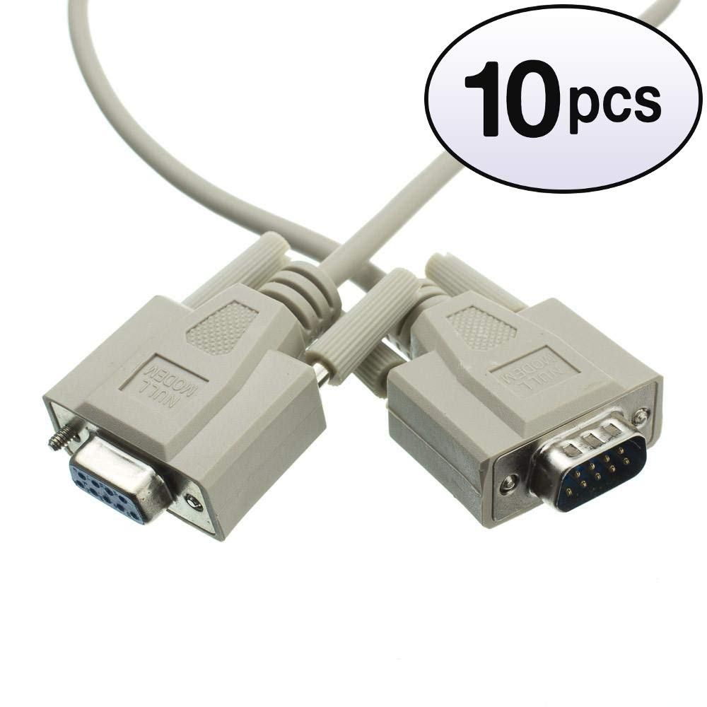 GOWOS (10 Pack) Null Modem Cable, DB9 Male to DB9 Female, UL Rated, 8 Conductor, 10 Feet by GOWOS