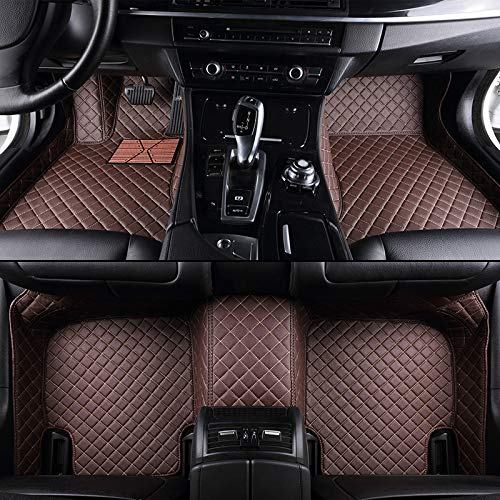 Custom Car floor mat Front & Rear Liner 8 Colors with Gold Lines for Lexus LS 460 2006-2016(Coffee)