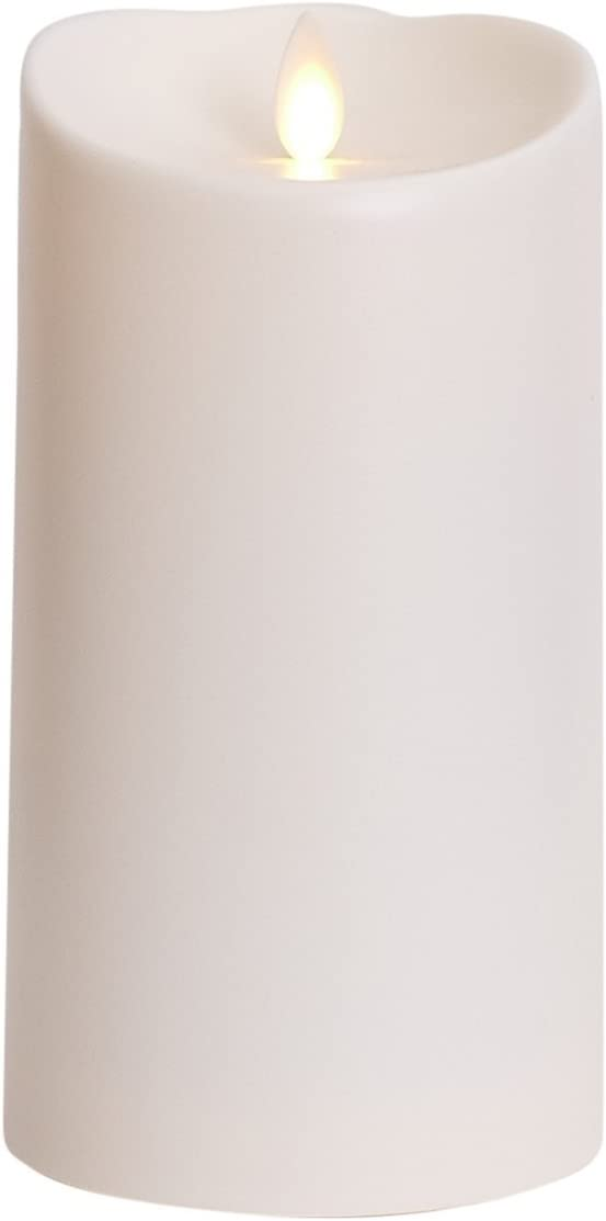 Luminara Outdoor Flameless Candle Plastic Finish, Unscented Moving Flame Candle with Timer 7 ,Ivory, cream