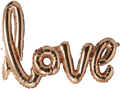 Wedding Easy Self Seal Engagement Always and Forever Metallic Foil Love Word Slogan Banner Balloon Anniversary Length 105cm Rose Gold Includes Ribbon